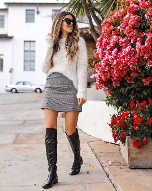 skirt tumblr mini skirt grey skirt sweater white sweater knit knitwear knitted sweater boots black boots knee high boots