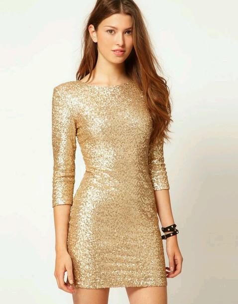 dress sequins cocktail dress short long sleeves gold sequins dress winter formal dress