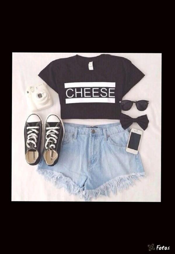 shirt converse cheese t-shirt shoes shorts sunglasses