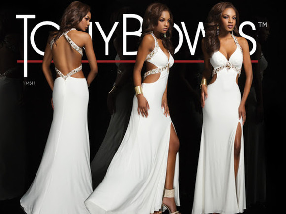 white dress openbackpromdress slit dress whiteprom prom