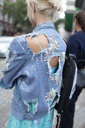 jacket,embellished denim,embellished,embellished jacket,blue jacket,denim jacket,dress,blue dress,ripped jacket