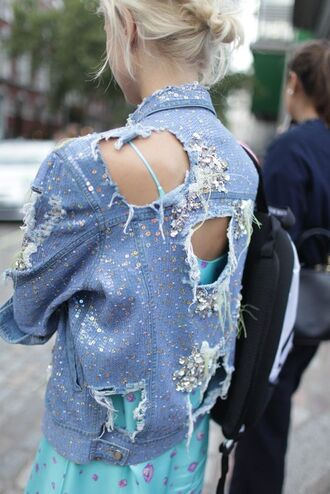 jacket embellished denim embellished embellished jacket blue jacket denim jacket dress blue dress ripped jacket