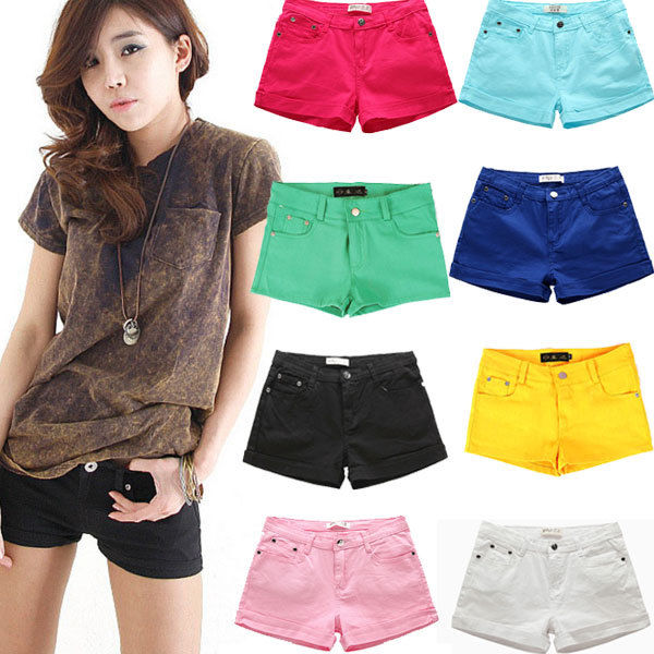 8 Colour New Women's Casual Candy Colour Shorts Short Jeans Pants 4 Size | eBay
