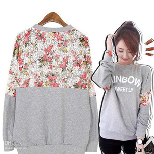 jacket floral sweater cute pretty girly hoodie