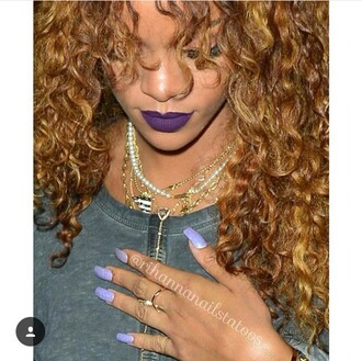 nail accessories rihanna nail polish sparkle dark lipstick purple lipstick