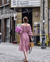 dress,tumblr,midi dress,off the shoulder,off the shoulder dress,pink dress,shoes,mules,slide shoes,pink shoes,bag,basket bag