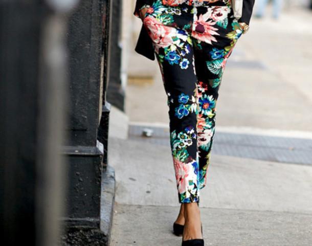 pants jeans pants floral flowers