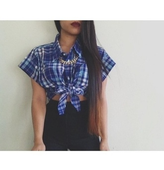 shirt plaid tied button down knot blue plaid blue blue checkered shirt