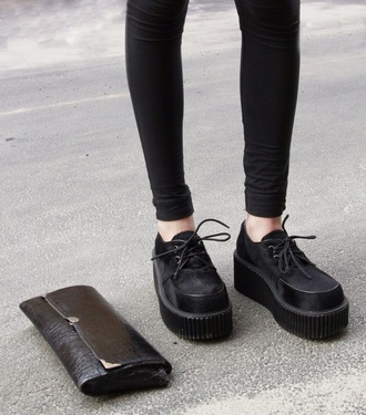 shoes creepers black goth hipster grunge platform shoes