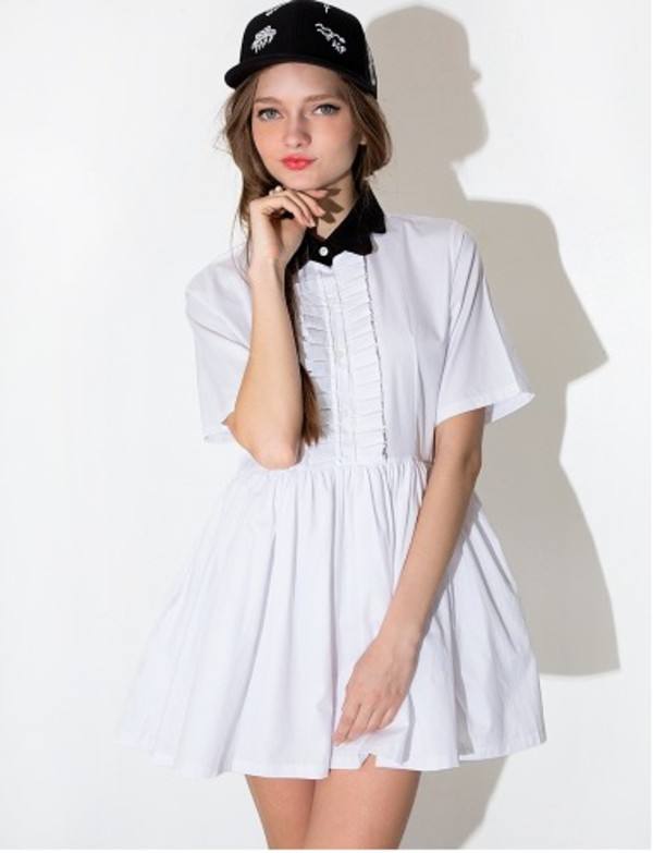 White Collar Shirt Dress - White Babydoll Dress -