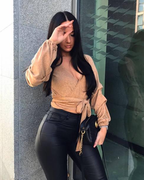 blouse beige blouse handbag black handbag bag