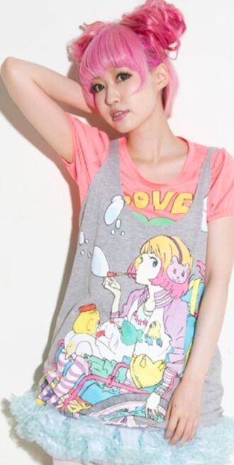 shirt kawaii graphic kawaii anime kawaii fashion pink pastel