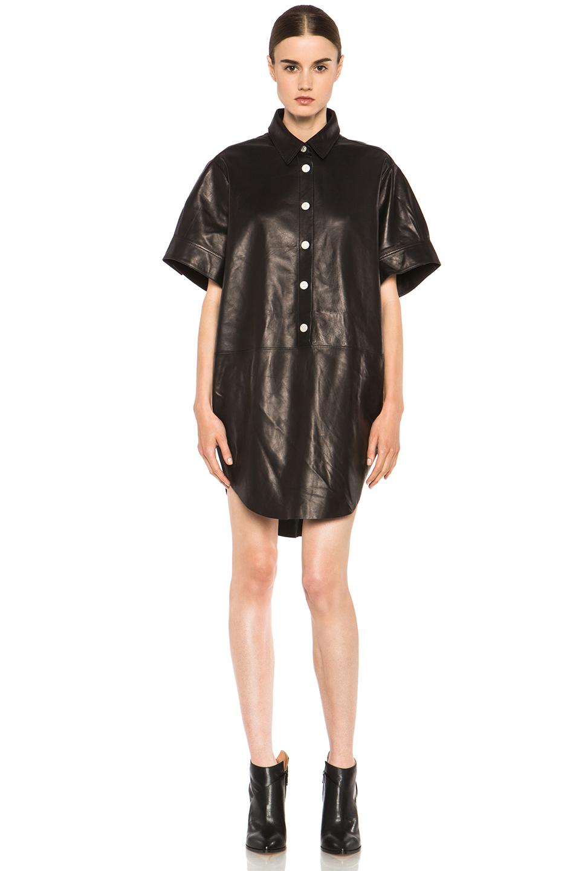 Acne Studios|Marla Lambskin Dress in Black Noir