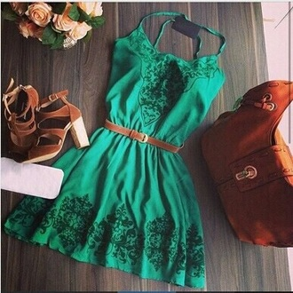 dress green dress belt patterned dress shoes