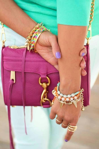 cardigan bag purple bag jewels