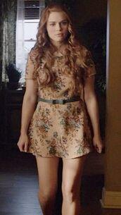teen wolf,lydia martin,dress,floral dress,mini dress,nude dress,holland roden