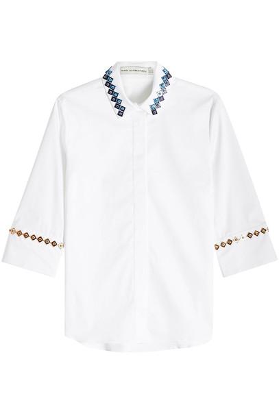 Mary Katrantzou Rita Embellished Cotton Shirt  in white