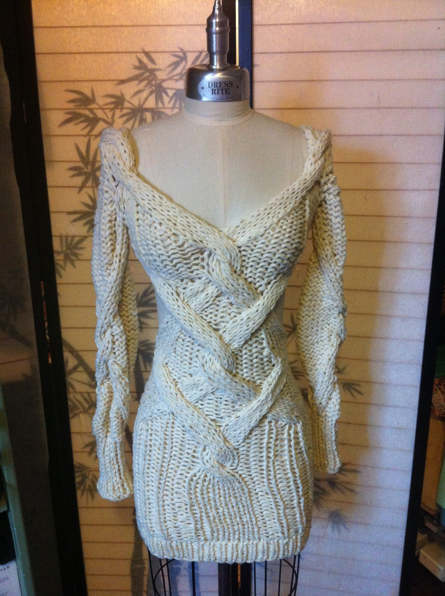 Hand made chunky cable knit dress w/ diamond cutouts by eco