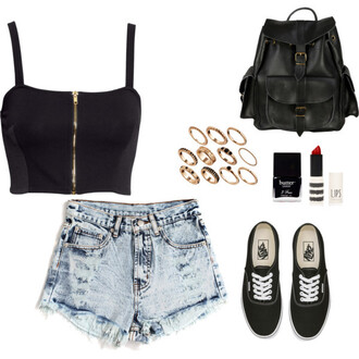 top black and white k-fashion hey  girls what do  you  think accessory snsd streetstyle leather backpack vans denim shorts