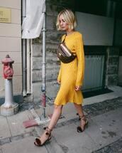 dress,midi dress,stripes,long sleeve dress,high heel sandals,belt bag