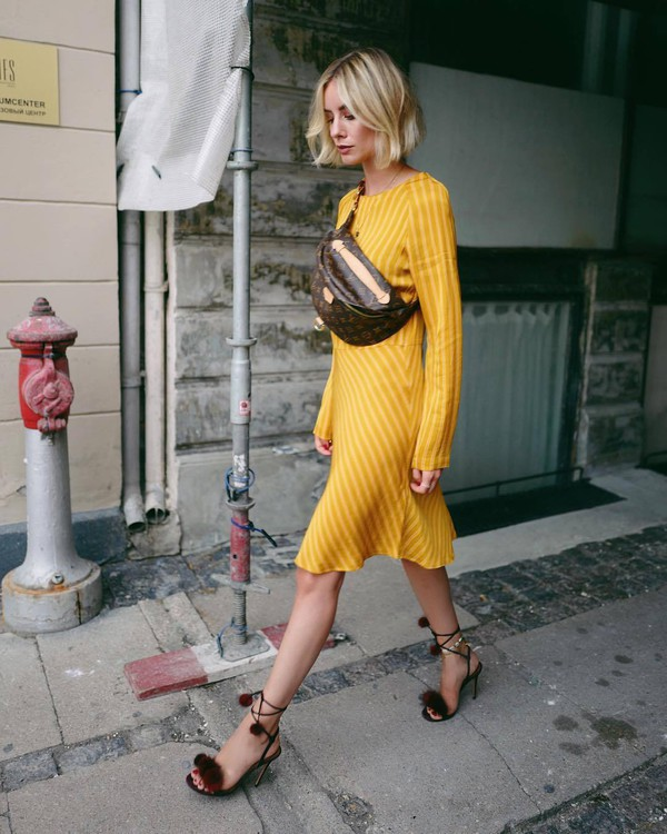 dress midi dress stripes long sleeve dress high heel sandals belt bag