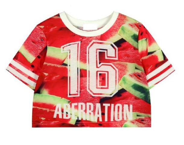 shirt 16 aberration watermelon print white green pink crop tops