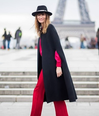coat cape black coat hat black hat pants red red pants fedora felt hat streetstyle
