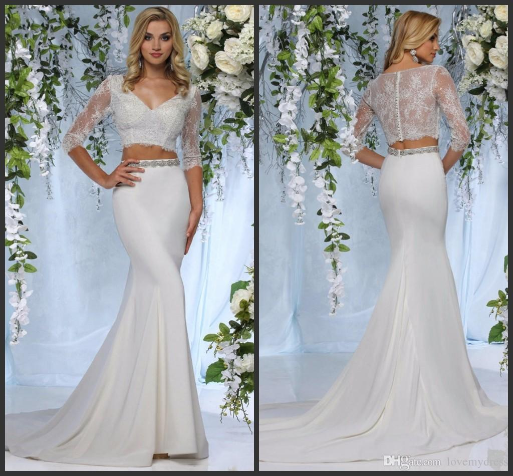 Two Pieces Wedding Dresses Lace Formal Wear Long Sleeve Covered