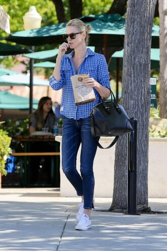 shirt plaid shirt charlize theron denim jeans streetstyle sneakers