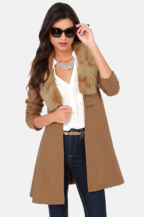 Cute Tan Coat - Frock Coat - Faux Fur Coat - $90.00