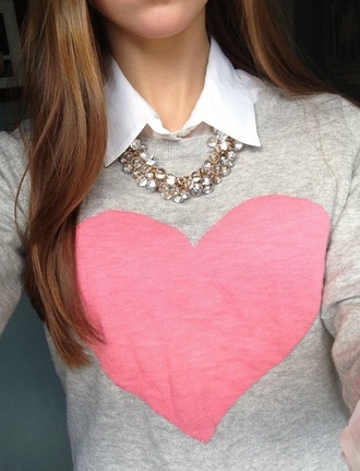 love heart pink sweater valentines day gift idea romantic valentines day shirt heart sweater