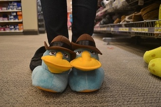 shoes slippers animation cartoon cute lovely hat phineas and ferb disney perry platypus agent sleep pajamas