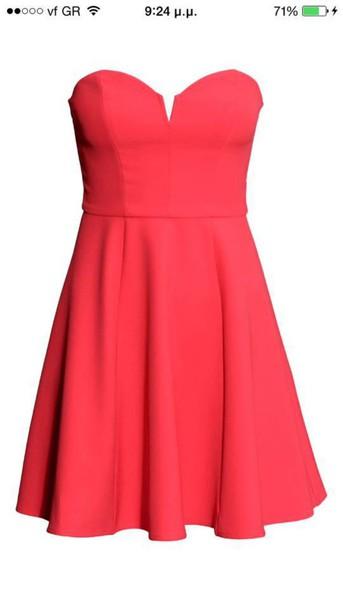 dress red strapless dress