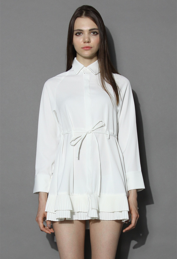 dress pleated ruffles flare shirt dress in white chicwish spring dress autum dress pleated dress chicwish.com