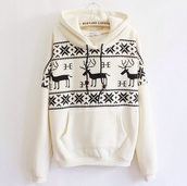 cream,deer print,colorful,sweatshirt,cream sweater,sweater,deer,white,black,christmas,hoodie,jumper,long sleeves,warm,cozy,casual,cool,trendy,clothes