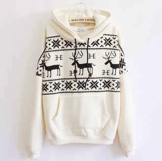 cream deer print colorful sweatshirt cream sweater sweater deer white black christmas hoodie jumper long sleeves warm cozy casual cool trendy clothes