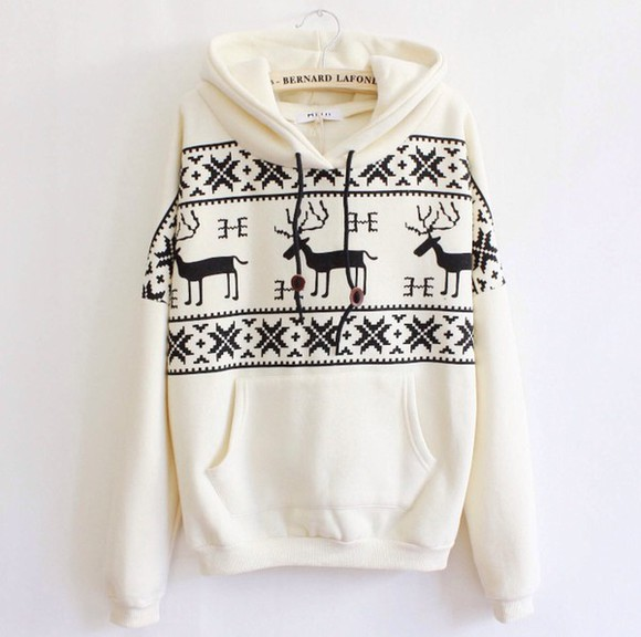 sweater cream deer print color cream sweater