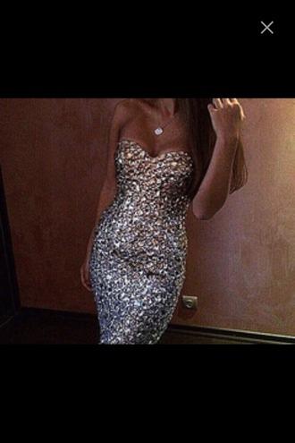 dress bodycon dress glimmer rhinestones evening dress fashion fancy sparkly dress diamonds necklace