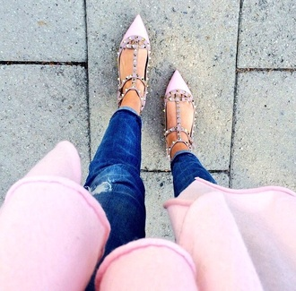 shoes studded shoes pink shoes pointed toe pointed flat shoes