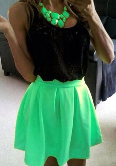 skirt lime green skater skirt skater skirt skater bright green mint green skirt
