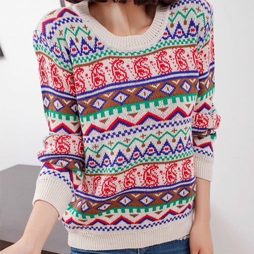 Retro Folk Style Geometric Figure Print Knit Sweater [grxjy560229] on Luulla