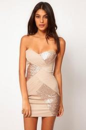 dress,tan dress,mini dress,bodycon dress,beige dress,sparkly dress,cross dress,bandage dress,sweetheart,sparkle,short,tight