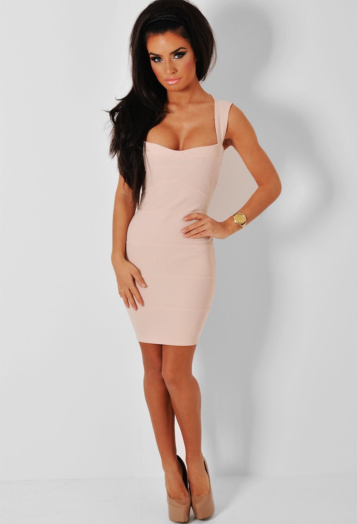 daec8c2fefde Ashleigh Nude Bandage Cut Out Mini Dress   Pink Boutique