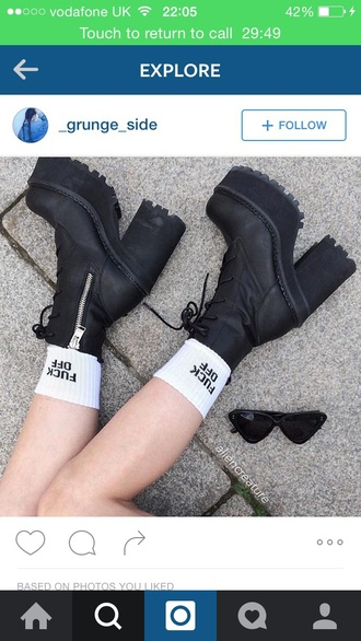 socks grunge goth gothic lolita goth hipster goth shoes grunge shoes punk hipster punk kawaii kawaii grunge hipster indie rock shoes platform shoes black fuck off high heels boots black boots ankle boots
