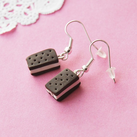 Icecream Sandwich Earrings by BabyLovesPink on Etsy