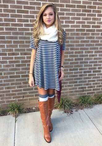 dress clothes trendy t-shirt dress fall outfits knee high socks