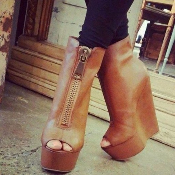 wedge peep toe boots ankle zipper shoes peep toe boots high heels brown high heels peep toe heels brown