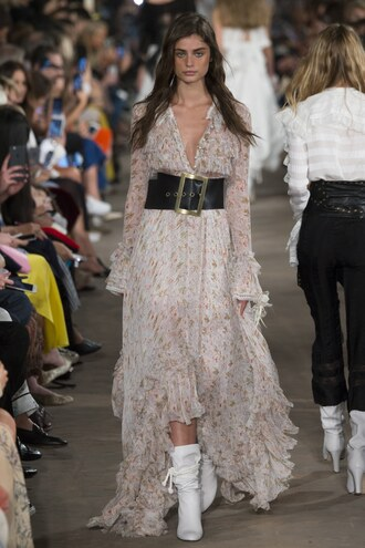 dress philosophy di lorenzo serafini maxi dress ruffle belt taylor hill milan fashion week 2016
