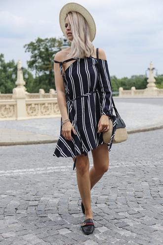 dress hat tumblr stripes striped dress mini dress off the shoulder off the shoulder dress shoes mules bag sun hat