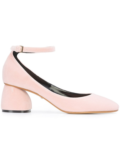 Carven ankle strap women pumps leather velvet purple pink shoes